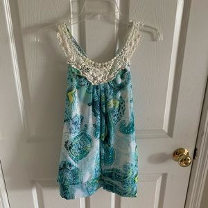 Tops - Turquoise Lace Racerback Tank Top Size Large